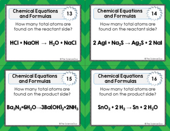 Chemistry Task Cards- Chemical Equations and Formulas