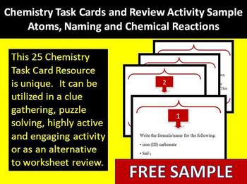 Chemistry Task Cards and Review Activity Sample - Unique and Highly Engaging