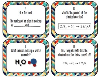 Chemistry Task Cards (atoms, elements, chemical equations)