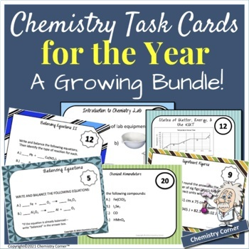 Chemistry Task Cards for the Year- A Growing Bundle