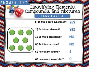 Chemistry: Classifying Matter-Elements, Compounds, Mixtures-Task Card SCOOT Game