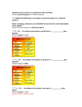 Chemistry Test Bank on elements, compounds, and mixtures