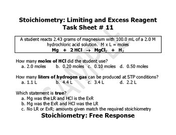 Chemistry: Test Review Task Sheets - Stoichiometry