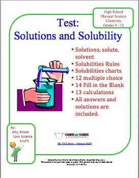 Chemistry Test: Solutions / Solubility
