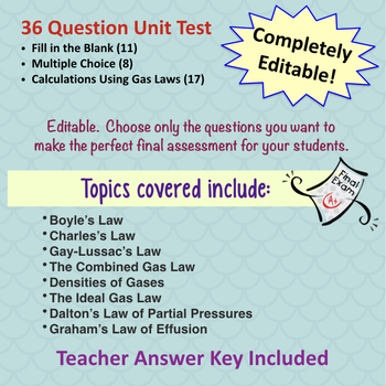 Chemistry Test:  The Gas Laws