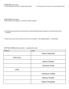 Chemistry Test - Writing Chemical Formulas