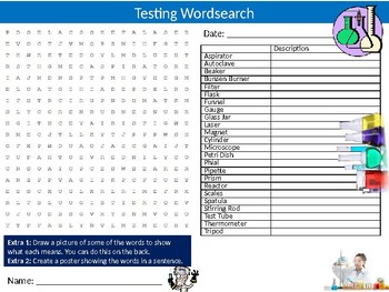 Chemistry Testing Wordsearch Sheet Starter Activity Keywords Cover Science