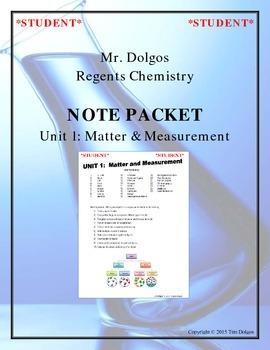 Chemistry - Unit 1: Matter & Measurement (Note Packet & Pr