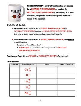 Chemistry - Unit 12: Nuclear Chemistry (Note Packet & Practice Packet)