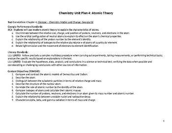Chemistry Unit & Daily Lesson Plan 4: Atomic Structure (Differentiated/SIOP)