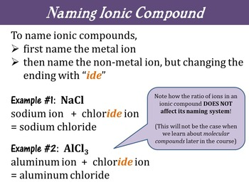 Chemistry Unit - Ionic Compounds Formation, Formulae & Naming