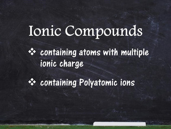 Chemistry Unit - Multiple Ionic Charge & Polyatomic Ions