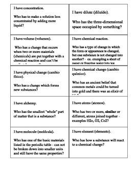 Chemistry: Vocabulary Activity Grade 5
