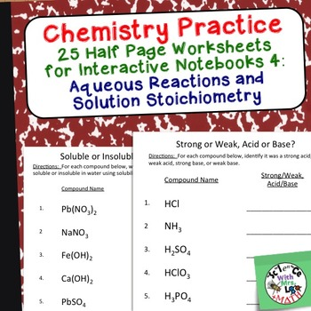 Chemistry Worksheets 4 for Interactive Notebooks: Solubility and Solutions