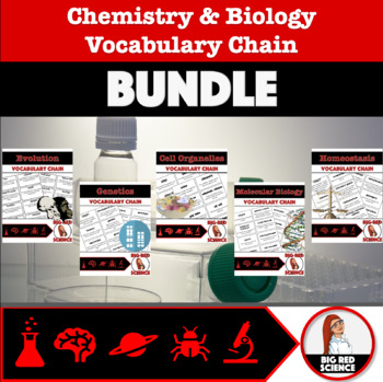 """Chemistry and Biology """"I have, who has?"""" Vocabulary Chains GROWING BUNDLE"""