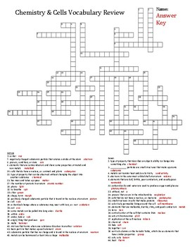 Chemistry and Cells Vocabulary Crossword Puzzle