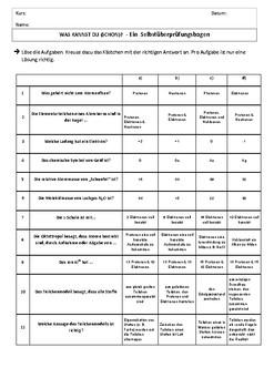 Chemistry diagnostic, german, Chemie, Test, Wiederholung, Selbstüberprüfung