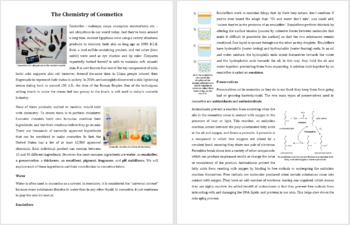 Chemistry of Cosmetics - Reading Article - Grade 8 and Up