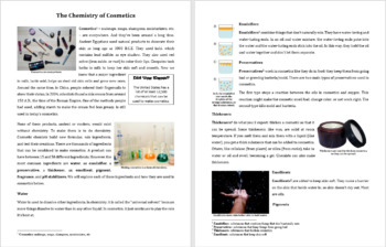 Chemistry of Cosmetics - Reading Article - Grades 5-7