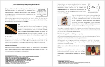 Chemistry of Dyeing Hair - Science Reading Article - Grades 5-7