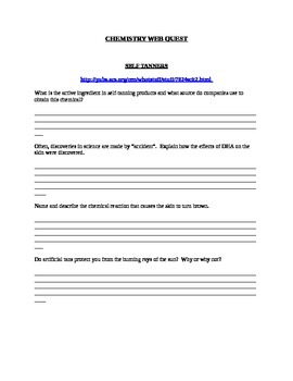 Chemistry of Everyday Products Web Quest