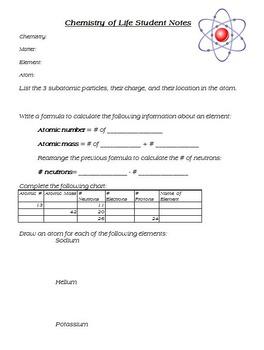 Chemistry of Life Bundle- Matter, Diffusion, Organic Compounds