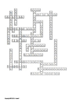 Chemistry of Life Crossword