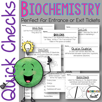 Chemistry of Life EXIT Tickets...Macromolecules, Cell Transport, & Cell Membrane