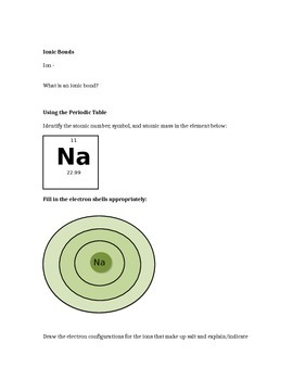 Chemistry of Life Note Sheet