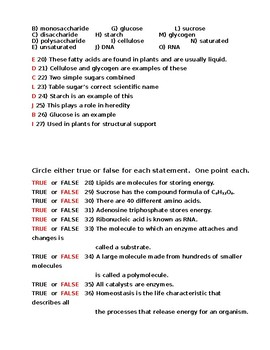 Chemistry of Life Pre-Assessment