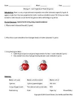 Chemistry of Life - Properties of Water Lab