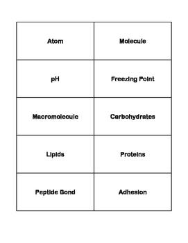 Chemistry of Life Vocab Cards - Keystone Biology
