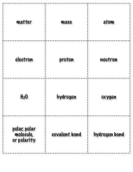 Chemistry of Life Vocabulary Card Game