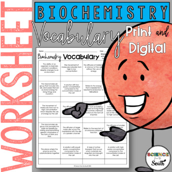 Chemistry of Life Vocabulary Cut and Paste For Review or A