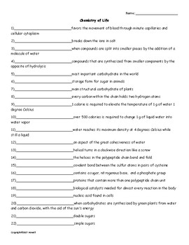 Chemistry of Life Vocabulary Quiz or Worksheet for Zoology