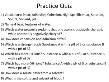 Chemistry of Water PowerPoint (& free student handout)