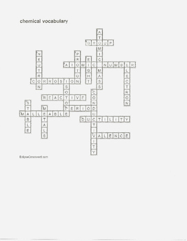 Crossword puzzle for Chemistry vocabulary with answer key