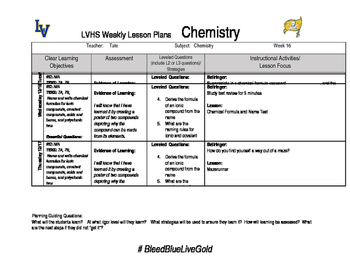 Chemistry week 16 lesson plans