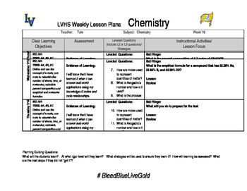 Chemistry week 18 lesson plans