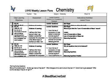 Chemistry week 19 lesson plans