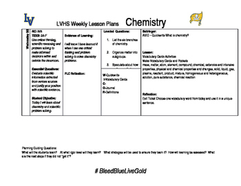 Chemistry week 2 lesson plan