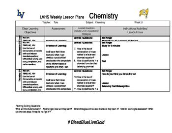 Chemistry week 21 lesson plans
