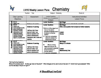 Chemistry week 24 lesson plans