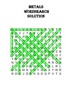 Chemistry word search Puzzle: Metals (Includes solution)