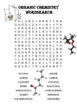Chemistry word search Puzzle: Organic Chemistry (Includes solution)