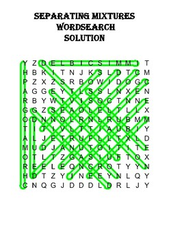 Chemistry word search Puzzle: Separating Mixtures (Includes solution)