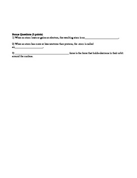 Chemistry: worksheets, notes, lesson plans, and tests