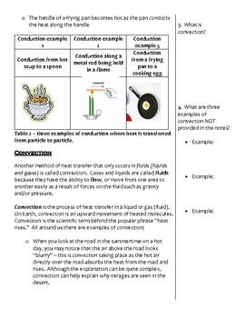 Middle School Physical Science Notes - Heat Transfer
