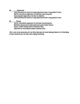 Chemisty Quiz on 1st Chapter Vocabulary