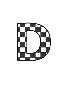 Chequered Lettering (upper/lowercase, cursive, numbers, shapes, symbols)